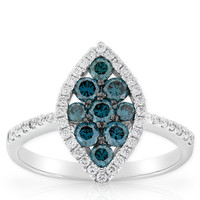 Blue Diamond Ring 14K
