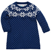 Buy John Lewis Snowflake Knitted Dress, Blue | John Lewis