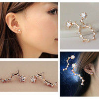Korean Fashion Earrings Alloy Rhinestone Earring Ear Studs Dipper JW043