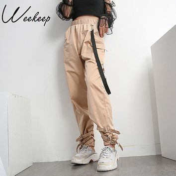Weekeep High Waist Adjustable Pants Women Loose Elastic Wasit Cargo Pants Fashion Streetwear Trousers 2018 Women Pencil Pants