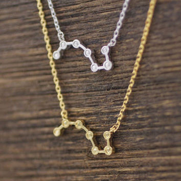 Big Dipper layers necklace detailed with cubic zirconia in gold / silver, N0642S