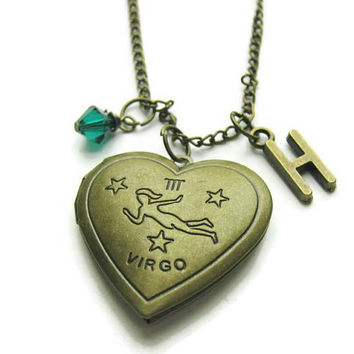 Virgo Locket, Zodiac Locket, Virgo Zodiac Locket, Virgo Necklace, Zodiac Necklace, Birthstone Necklace, Personalized