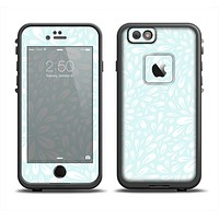 The Light Teal Blue & White Floral Sprout Skin Set for the Apple iPhone 6 LifeProof Fre Case