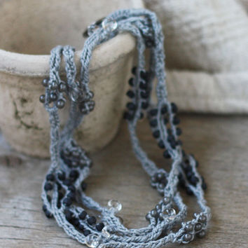 SALE Long grey necklace with glass beads Neutral crochet jewelry Rustic Natural Boho jewelry