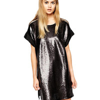 Sequined Short Sleeve Shift Mini Dress