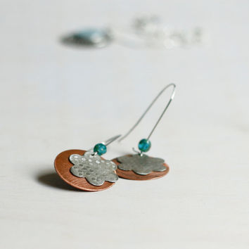 Silver and copper dangle earrings floral disc dangle earrings bridesmaid earrings