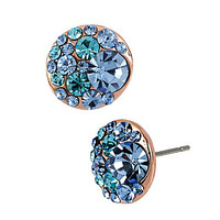Betsey Johnson Multi Blue Crystal Stud Earrings - Blue