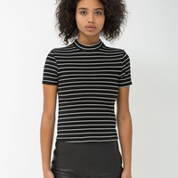 rsapo305st - Striped Ponte Mock Neck Short Sleeve Top