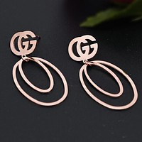 GUCCI New Popular Women Rose Golden Titanium Steel Oval Loops Pendant Earrings Accessories I13099-1