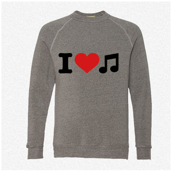 I love music 3 fleece crewneck sweatshirt