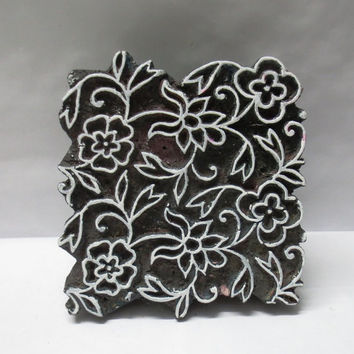 Indian wooden hand carved textile printing fabric block / stamp bold design floral carving print pattern