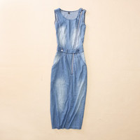 Denim Dress Zippers Prom Dress One Piece Dress [4917843908]
