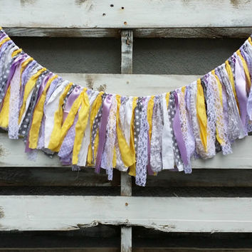 Fabric and Lace Rag Garland, Rustic Wedding Garland, Fabric Banner, Backdrop Garland, Rag Tie Garland, Baby Shower Decor