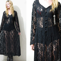 90s Vintage BLACK LACE Dress SHEER Long Sleeve Maxi Lace-up Corset Back Goth Grunge Gypsy 1990s vtg S M