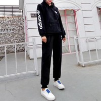 """Adidas"" Women Casual Fashion Letter Logo Print Velvet Long Sleeve Hooded Sweater Trousers Set Two-Piece Sportswear"