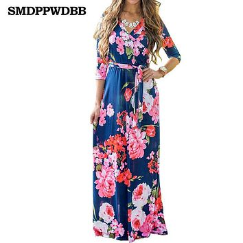 SMDPPWDBB Boho Deep V- Neck Long Women Dress Floral Print Summer Autumn Dress Beach Maxi Dress Vestidos Maternity Nursing Dress
