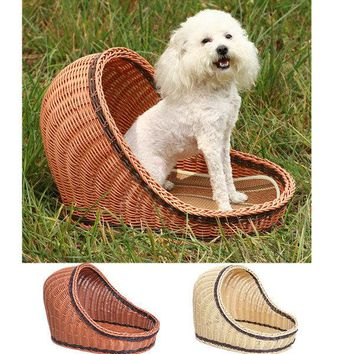 Handmade Pet Rattan Cool Nest Removable Washable Bed Summer House Bed Basket For Dog Cat