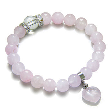 Amulet Love Powers Crystals Rose Quartz Gemstones Healing Heart Charm Bracelet