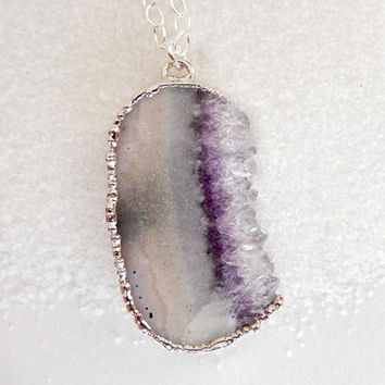 Amethyst Druzy Slice Necklace Crystal Pendant in Silver- Free Shipping Valentine's Day Jewelry