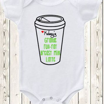 Breastfeeding Onesuit ® Brand Bodysuit Or Shirt Funny Breastfeeding Grande Full-fat Breast Milk Lattemoms Who Love Coffee Starbucks Spoof