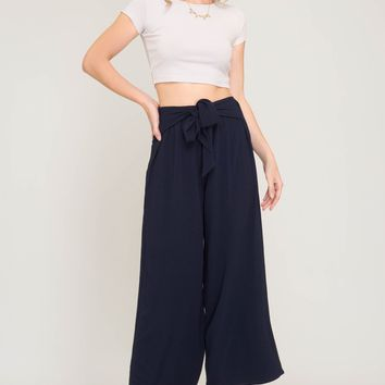 Woven Palazzo Pants with Waist Tie & Elastic Band - Navy