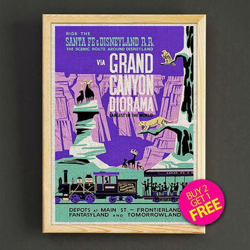 Vintage Santa Fe & Disneyland Railroad Poster Grand Canyon Diorama Print Home Wall Decor Gift Linen Print - Buy 2 Get 1 FREE - 355s2g