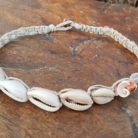 Hemp Choker, Cowrie Shell Necklace, Pale Rose Quartz, Sea Shells, Hemp Jewelry, Hemp Necklace, Shell Choker, Gift for Her, Choker Necklace
