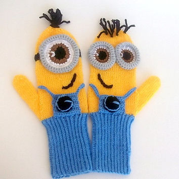 Adult,Kids,Baby,Despicable Me Minion Mittens Gloves-MINION style fingerless gloves-Knit minion gloves-Crochet gloves