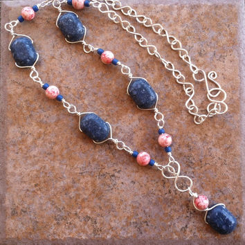 Handmade Wire Wrapped Blue Sponge Coral Necklace, Silver Plated Wire Necklace, Blue Pink Sea Stone Y Necklace, Natural Stone Jewelry, Unique