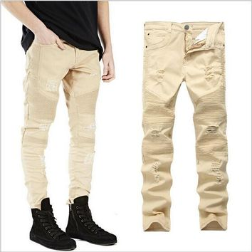 Khaki Skinny Denim Moto Jeans Stretch Men Biker 2017 Ripped Jeans For Men Size 42 Diestressed Slim Famous Kanye Broken Pants
