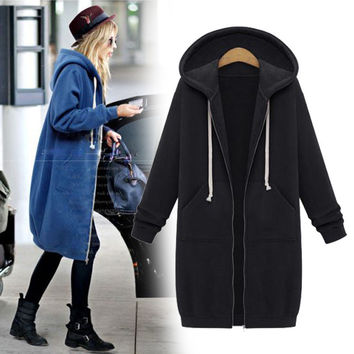 Hooded Long Sleeves Mid-length Zipper String Coat
