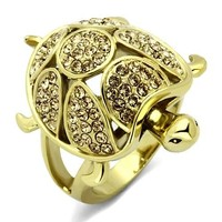 Gold Stainless Steel  Citrine Crystal Turtle Ring