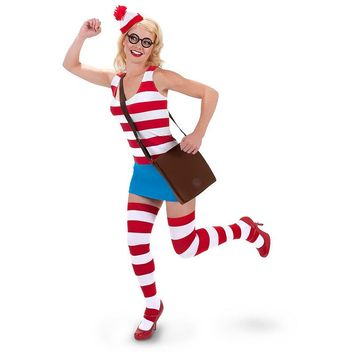 Where's Waldo Dress Costume - Adult (Blue/White/Red)