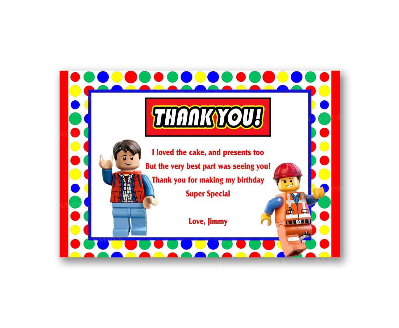 Colorful Rainbow Lego Thank You Card Kids From Uinvites Com