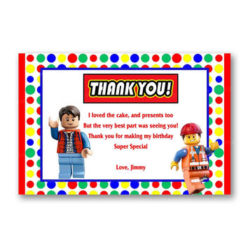 Colorful Rainbow Lego Thank You Card Kids Birthday Invitation Party Design