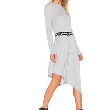 White Long Sleeve Asymmetrical Hem Midi Dress