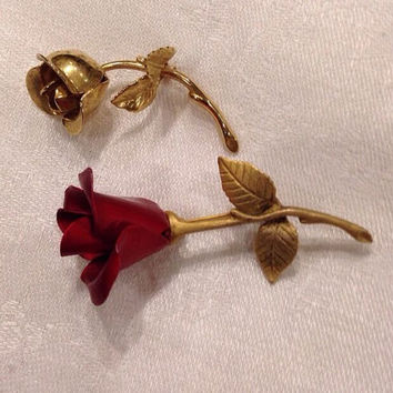 Vintage Rose Flower Brooch Set Red Avon Metal Rose Gold Monet Rose Costume Jewelry