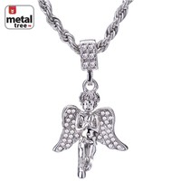 """Jewelry Kay style Men's Hip Hop 14K Gold Plated Pray Hand Angel 24"""" Rope Chain Pendant Necklace"""
