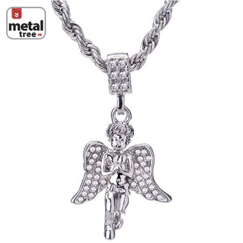 "Jewelry Kay style Men's Hip Hop 14K Gold Plated Pray Hand Angel 24"" Rope Chain Pendant Necklace"