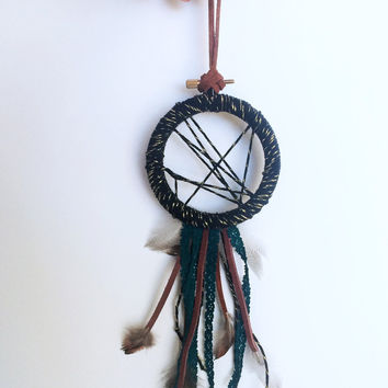Modern Boho Decor - Black Dream Catcher Wall Hanging - Modern Bohemian Wall Art - Handmade Small Dreamcatcher - Boho Gift - Boho Home