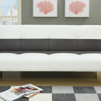 Nathaniel collection two tone ash grey and white faux leather upholstered futon bed
