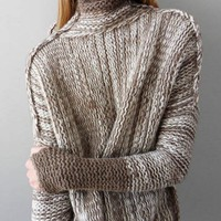 Long sleeve knit sweater jacket with a loose sweater