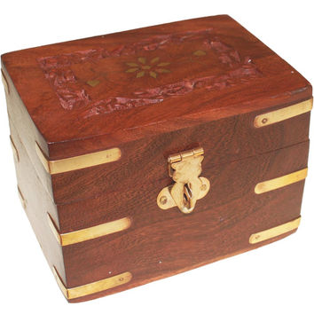 Carved Wooden Box holds 6x10ml bottles