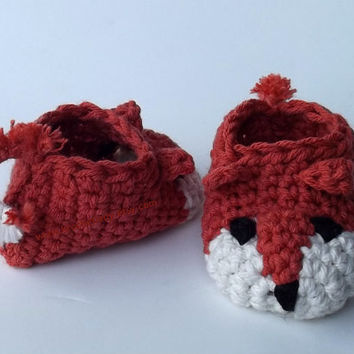 Fox Baby Shoes Crochet Booties Animal Slippers Photographers Prop