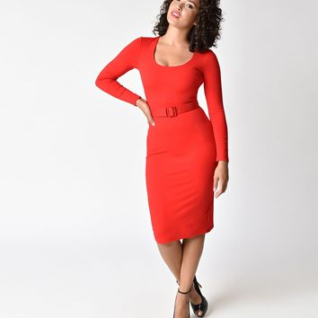 Vixen by Micheline Pitt Vintage Red Long Sleeve Troublemaker Wiggle Dress