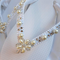 Wedding flip flops WHITE with rhinestones and pearls