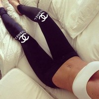 Chanel Letter printing cotton sports fitness leggings pants