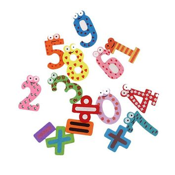 Hot Sale 2016  15pcs Fridge Magnets Early Learning Educational Toys Wooden Math