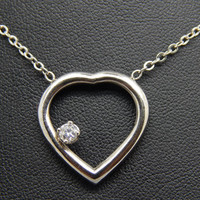 Vintage 14K White Gold Heart Necklace with Diamond