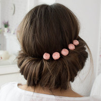 Pink flower hair pins, Small hair flowers - set of 5, Wedding flowers, Pink hair accessories